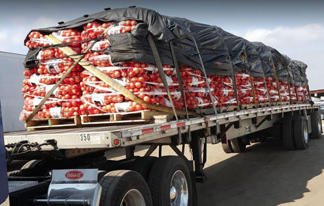 Photo of delivery truck full of Colorado Grown onions from Petrocco Farms